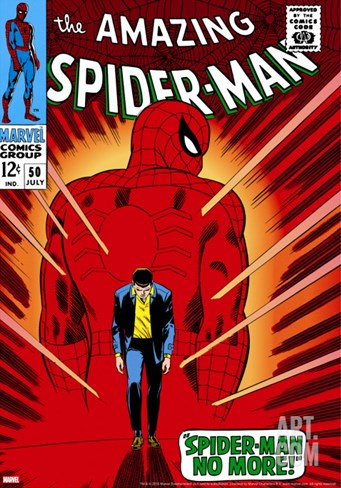 Marvel Comics Retro: The Amazing Spider-Man Comic Book Cover #50, Spider-Man No More! Stretched Canvas Print