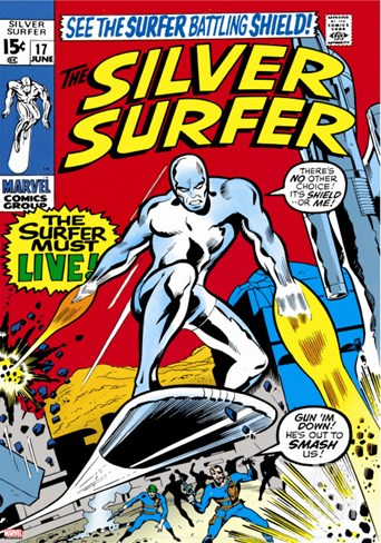 Marvel Comics Retro: Silver Surfer Comic Book Cover No.17 Stretched Canvas Print