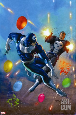 Punisher Vs. Bullseye No.4 Cover: Punisher and Bullseye Smashing Stretched Canvas Print
