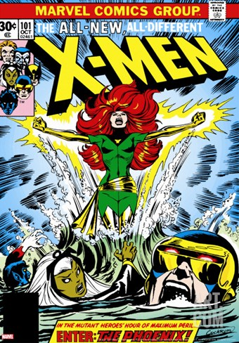 Marvel Comics Retro: The X-Men Comic Book Cover No.101, Phoenix, Storm, Nightcrawler, Cyclops Stretched Canvas Print