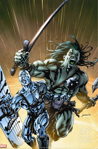 Skaar: Son Of Hulk No.8 Cover: Skaar and Silver Surfer Stretched Canvas Print