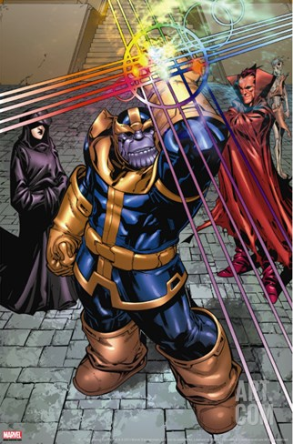 What If? Newer Fantastic Four No.1 Group: Thanos, Death and Mephisto Stretched Canvas Print