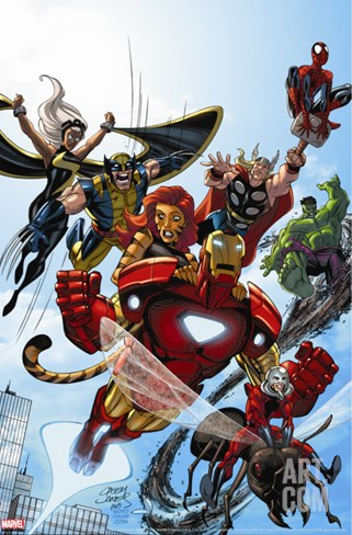 Marvel Adventures The Avengers No.38 Cover: Iron Man Stretched Canvas Print