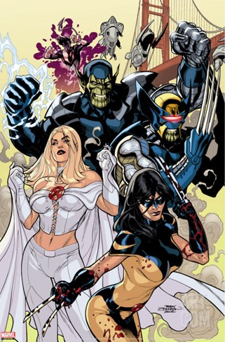 Secret Invasion: X-Men No.1 Cover: X-23 and Emma Frost Stretched Canvas Print