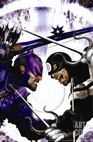 Dark Reign: Hawkeye No.2 Cover: Hawkeye and Bullseye Stretched Canvas Print