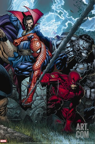 Ultimatum No.4 Cover: Spider-Man, Daredevil, Dr. Strange and Hulk Stretched Canvas Print