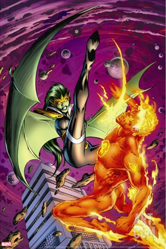 Secret Invasion: Fantastic Four No.2 Cover: Human Torch and Lyja Stretched Canvas Print