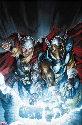 Secret Invasion: Thor No.3 Cover: Thor and Beta-Ray Bill Stretched Canvas Print