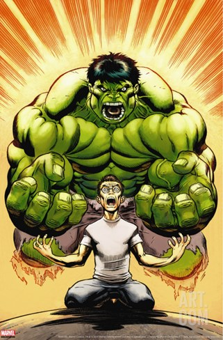 Hulk No.13 Cover: Banner, Bruce and Hulk Stretched Canvas Print