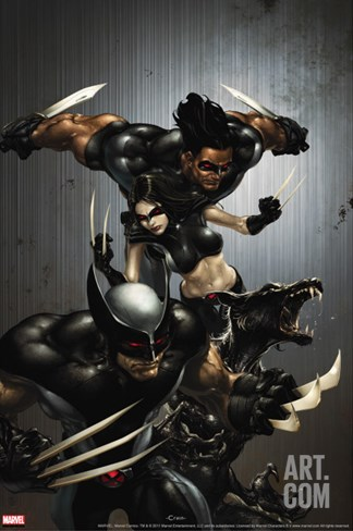 X-Force No.1 Cover: Wolverine, X-23, Wolfsbane and Warpath Stretched Canvas Print