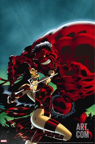 Hulk No.15 Cover: Elektra and Rulk Stretched Canvas Print