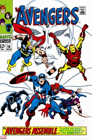 Giant-Size Avengers No.1 Cover: Thor, Iron Man, Captain America and Black Panther Stretched Canvas Print
