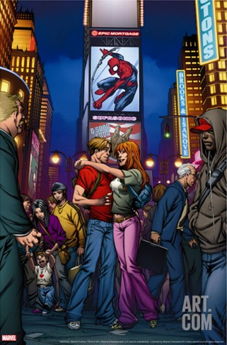 Ultimate Spider-Man Annual No.3 Cover: Spider-Man, Peter Parker, and Mary Jane Watson Stretched Canvas Print