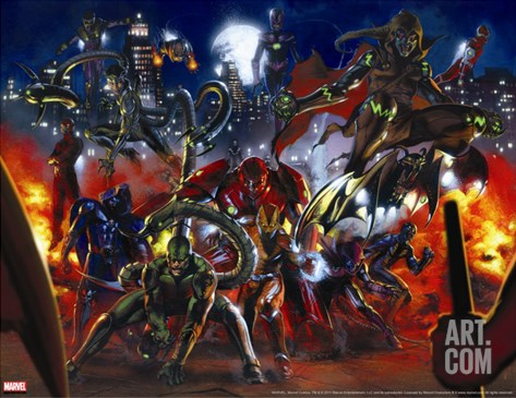 Secret War No.3 Group: Scorpion, Shocker, Hobgoblin, Doctor Octopus and Grim Reaper Stretched Canvas Print