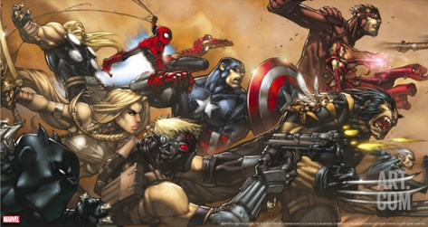 Ultimates No.3 Cover: Captain America Stretched Canvas Print