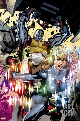 Secret Invasion: X-Men No.3 Cover: Colossus and Dazzler Stretched Canvas Print