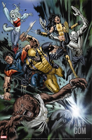 Uncanny X-Men No.493 Group: Wolfsbane, Wolverine, X-23, Warpath, Hepsibah and Caliban Stretched Canvas Print
