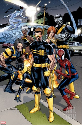 Ultimate Spider-Man #120 Group: Spider-Man, Cyclops and Wolverine Stretched Canvas Print