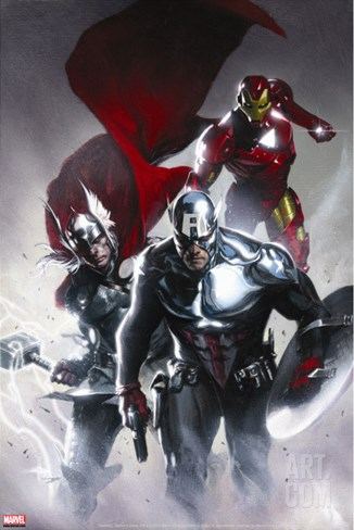 Secret Invasion No.6 Cover: Captain America, Thor and Iron Man Stretched Canvas Print