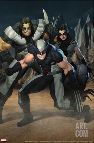 Cable No.7 Group: Wolverine, X-23, Warpath and Wolfsbane Stretched Canvas Print