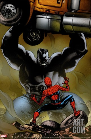 Ultimate Spider-Man No.131 Cover: Spider-Man and Hulk Stretched Canvas Print