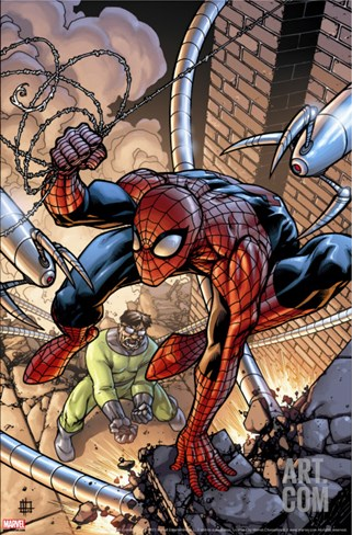 Marvel Adventures Two-In-On No.19 Cover: Spider-Man and Doctor Octopus Stretched Canvas Print