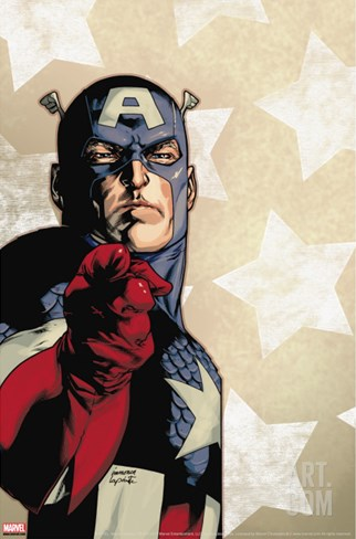 New Avengers No.61 Cover: Captain America Stretched Canvas Print