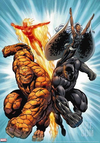 Black Panther No.1 Group: Black Panther, Thing, Storm and Human Torch Stretched Canvas Print