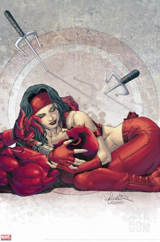 Ultimate Elektra No.4 Cover: Daredevil and Elektra Stretched Canvas Print