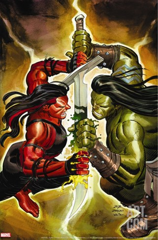 Incredible Hulk No.607 Cover: Red She-Hulk and Skaar Stretched Canvas Print