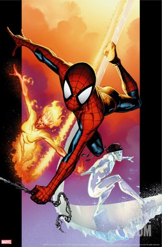 Ultimate Spider-Man #118 Cover: Spider-Man, Iceman and Firestar Stretched Canvas Print
