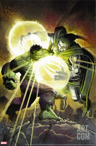 Incredible Hulk No.606 Cover: Hulk and Dr. Doom Stretched Canvas Print