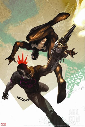 Blade No.10 Cover: Blade and Spider-Man Stretched Canvas Print