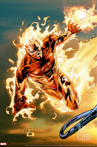 Ultimate Fantastic Four No.54 Cover: Human Torch Stretched Canvas Print