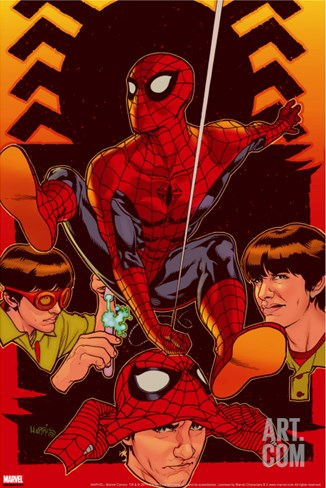 Spider-Man: With Great Power&No.5 Cover: Spider-Man, Peter Parker Stretched Canvas Print