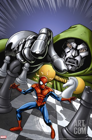 Marvel Adventures Spider-Man No.9 Cover: Spider-Man and Dr. Doom Stretched Canvas Print