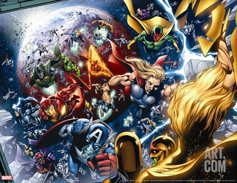 Nova Annual No.1 Group: Thor, Vision, Iron Man, Captain America and Dr. Doom Stretched Canvas Print