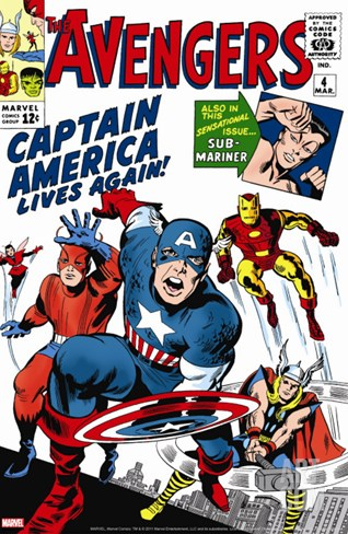 Avengers Classic No.4 Cover: Captain America, Iron Man, Thor, Giant Man and Wasp Stretched Canvas Print