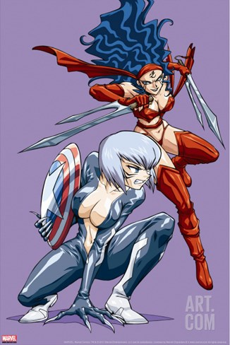 New Mangaverse No.3 Cover: Black Cat and Elektra Stretched Canvas Print