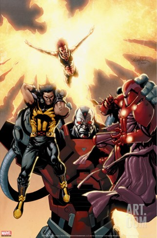 Ultimate X-Men No.93 Cover: Wolverine, Phoenix, Apocalypse and Onslaught Stretched Canvas Print