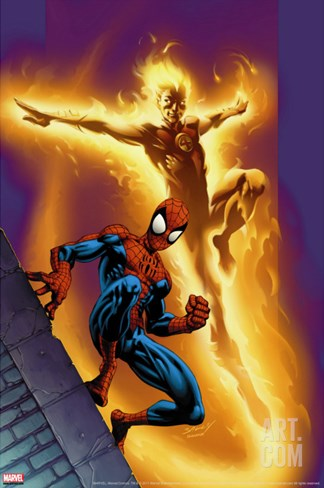 Ultimate Spider-Man No.68 Cover: Spider-Man and Human Torch Stretched Canvas Print