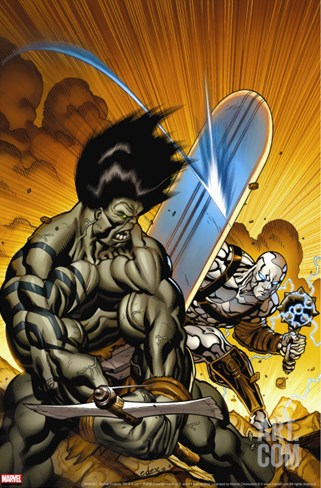 Skaar: Son Of Hulk No.7 Cover: Skaar and Silver Surfer Stretched Canvas Print
