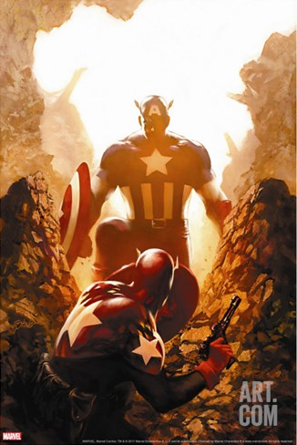 Captain America No.39 Cover: Captain America Stretched Canvas Print