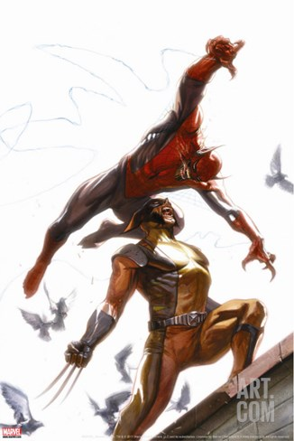 Secret Invasion No.7 Cover: Spider-Man and Wolverine Stretched Canvas Print