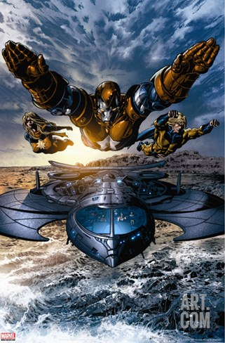 Dark Avengers No.2 Group: Iron Patriot, Ms. Marvel and Sentry Stretched Canvas Print