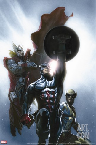 Secret Invasion No.8 Cover: Captain America, Wolverine and Thor Stretched Canvas Print