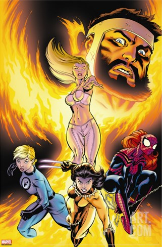 Incredible Hercules No.125 Cover: Hercules, Emma Frost, X-23, Spider-Girl and Invisible Woman Stretched Canvas Print