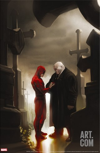 Daredevil No.117 Cover: Daredevil and Kingpin Stretched Canvas Print