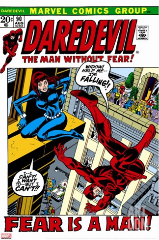 Daredevil No.100 Cover: Daredevil and Black Widow Stretched Canvas Print