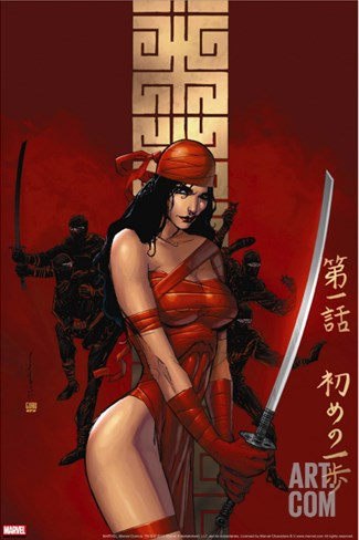 Elektra The Hand No.1 Cover: Elektra Fighting Stretched Canvas Print
